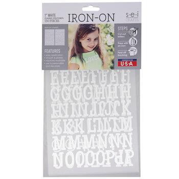 "White Vinyl Letter Iron-On Applique Alphabet - 1"""