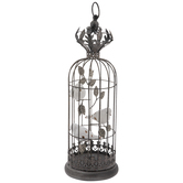 Metal Bird Cage With White Birds