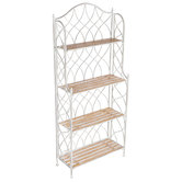 Antique White Swirl Metal Four-Tiered Baker's Rack