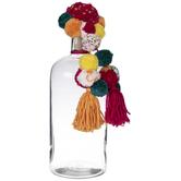 Multi-Color Pom Pom Glass Jug