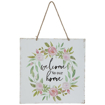 Welcome To Our Home Floral Metal Wall Decor