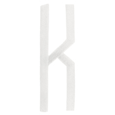 White Circular Monogram Iron-On Center Letter K - 2""