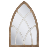 Rustic Cathedral Arch Wood Wall Mirror