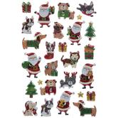 Santa & Pets Stickers