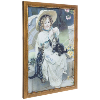 A Girl With Her Kitties Framed Wall Decor