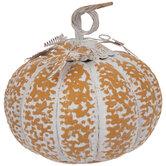 Orange & White Distressed Metal Pumpkin