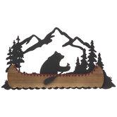 Mountain Bear Canoe Metal Wall Decor