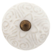 White Scroll Embossed Knob