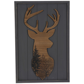Forest Deer Head Wood Wall Decor