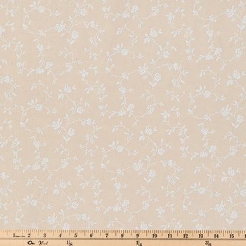 Natural & White Wide Floral Cotton Calico Fabric