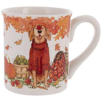 Dog In Red Sweater Autumn Mug