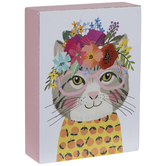 Cat With Flower Crown Wood Decor
