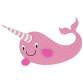 Pink Narwhal Painted Wood Shape