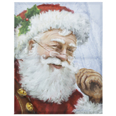 Santa With Bells Painted Canvas Wall Decor