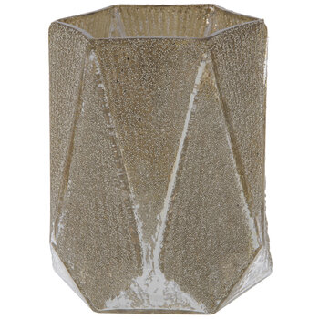 Champagne Triangle Beaded Glass Vase