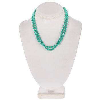 Turquoise Knotted Glass Bead Necklace