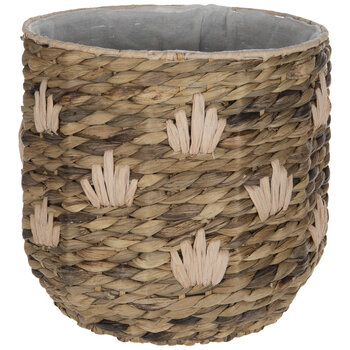 Natural & Pink Round Woven Basket