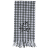 Gray & White Plaid Blessed Kitchen Towel