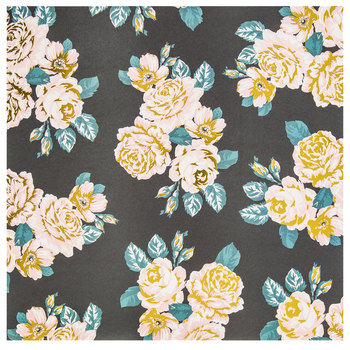 """Vintage Roses on Charcoal Scrapbook Paper - 12"""" x 12"""""""