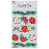 Red & White Poinsettia 3D Stickers