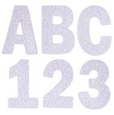 White Glitter Alphabet & Number Stickers