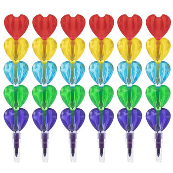 Multi-Color Stackable Heart Crayons