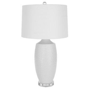 White Hammered Round Lamp