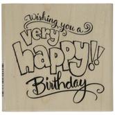 Birthday Wishes Rubber Stamp