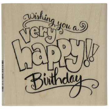 Birthday Wishes Rubber Stamp