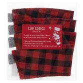 Buffalo Check Fabric Cup Cozies