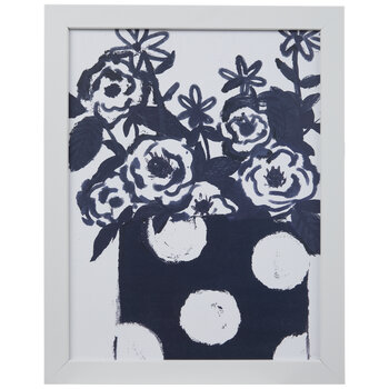 Navy & White Floral Wood Wall Decor