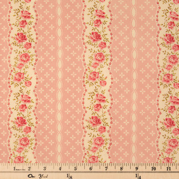 Pink & Cream Floral Striped Cotton Calico Fabric