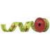Lime & Red Merry Christmas Glitter Wired Edge Ribbon - 1 1/2