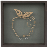 Gold Wire Apple Wood Wall Decor