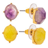 Yellow & Purple Faceted Oval Earrings