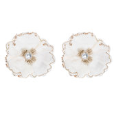 White & Gold Velvet Flower Clips