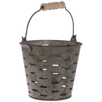Antique Gray Metal Olive Bucket - Large