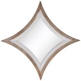 White Diamond Wood Wall Mirror