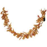 Light Up Orange Oak Leaf Garland