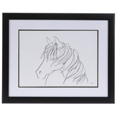 Minimal Horse Sketch Framed Wall Decor