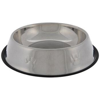 Silver Paw Print Pet Bowl