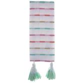 White & Multi-Color Striped Kitchen Towel