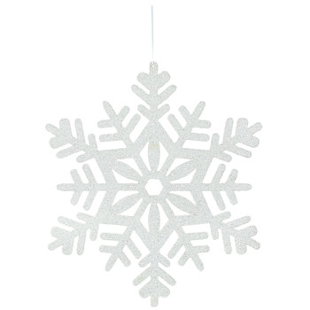 White Tinsel Snowflake Wood Wall Decor - Large