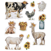 Farm Animals & Sunflowers Stickers