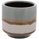 Blue, White & Brown Drip Line Flower Pot