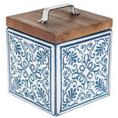 Navy & White Metal Box