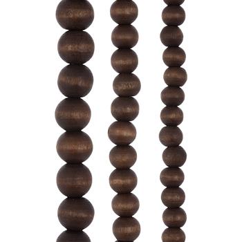 Oval Wood Bead Strands