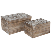 Distressed White Flower Wood Box Set