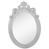Distressed White Ornate Oval Wall Mirror