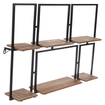 Two-Tiered Squares Wood Wall Shelf